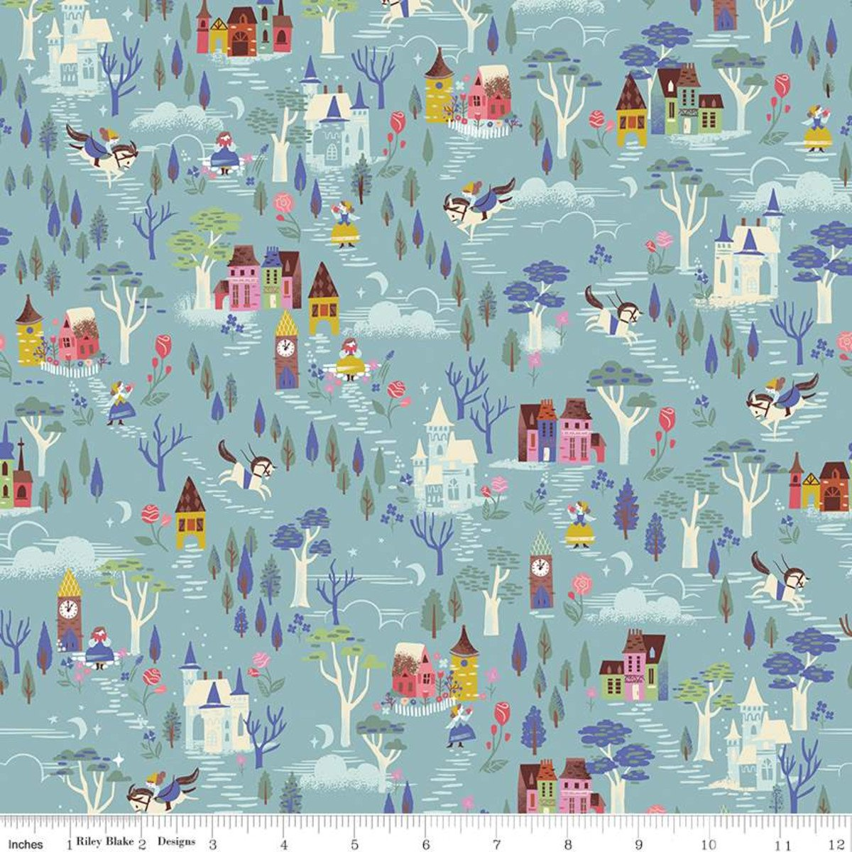 Beauty & the Beast French Countryside Blue Fabric by Riley Blake