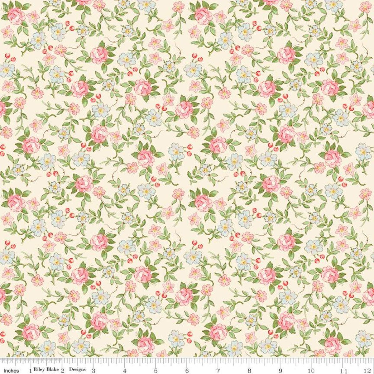 Rose & Violets Garden Sweet Blossoms Cream Fabric by Riley Blake