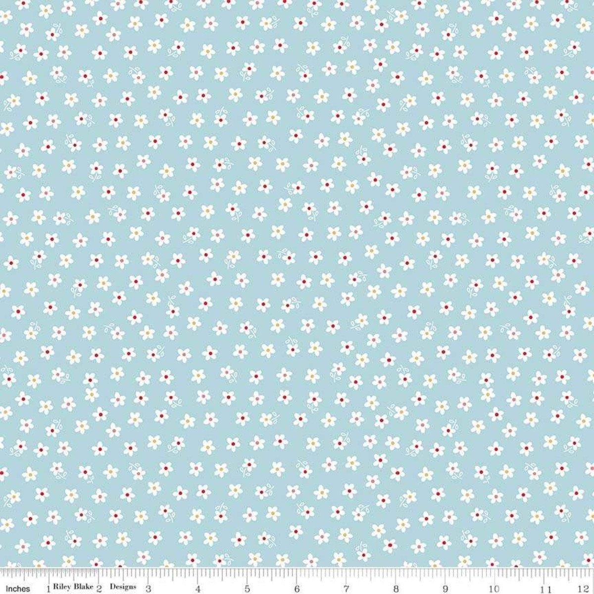 Calico Days Daisy Aqua Stretch Jersey Knit Fabric by Riley Blake Designs