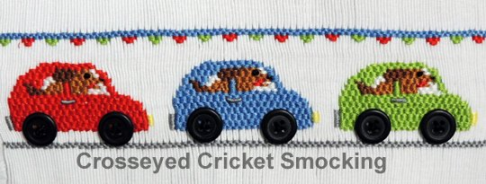 Doggie Ride Along Smocking Plate by Crosseyed Cricket