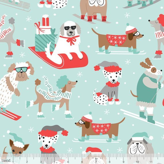 Winter Flurries in Blue - Snowlandia Fabric