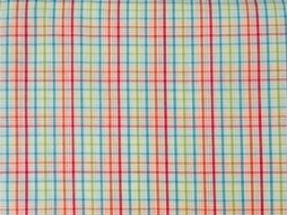 Orange Red Lime and Blue Plaid Fabric by Fabric Finders