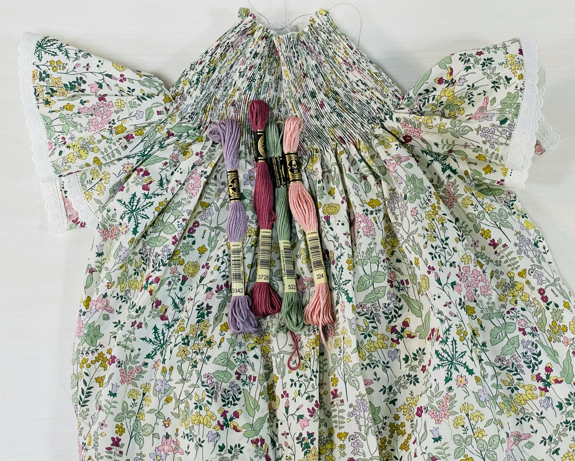 Bishop Kit - Field Flowers A Organic Liberty of London Tana Lawn (Shown with Optional Lace Edging at Sleeves)