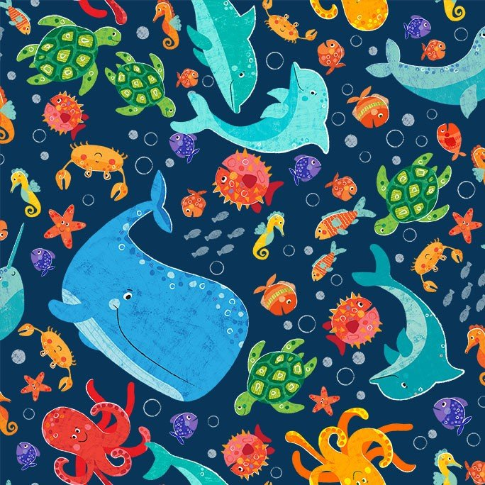 Fin-tastic Fabric in Navy by Michael Miller