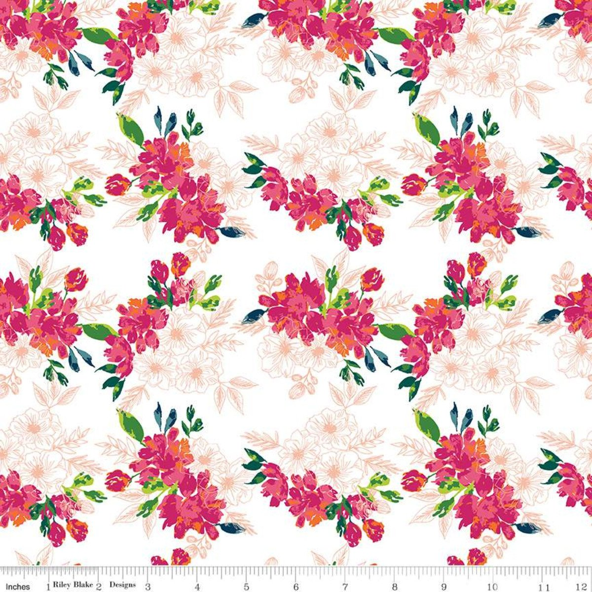 Garden Party Flower Bed Cream Fabric by Riley Blake