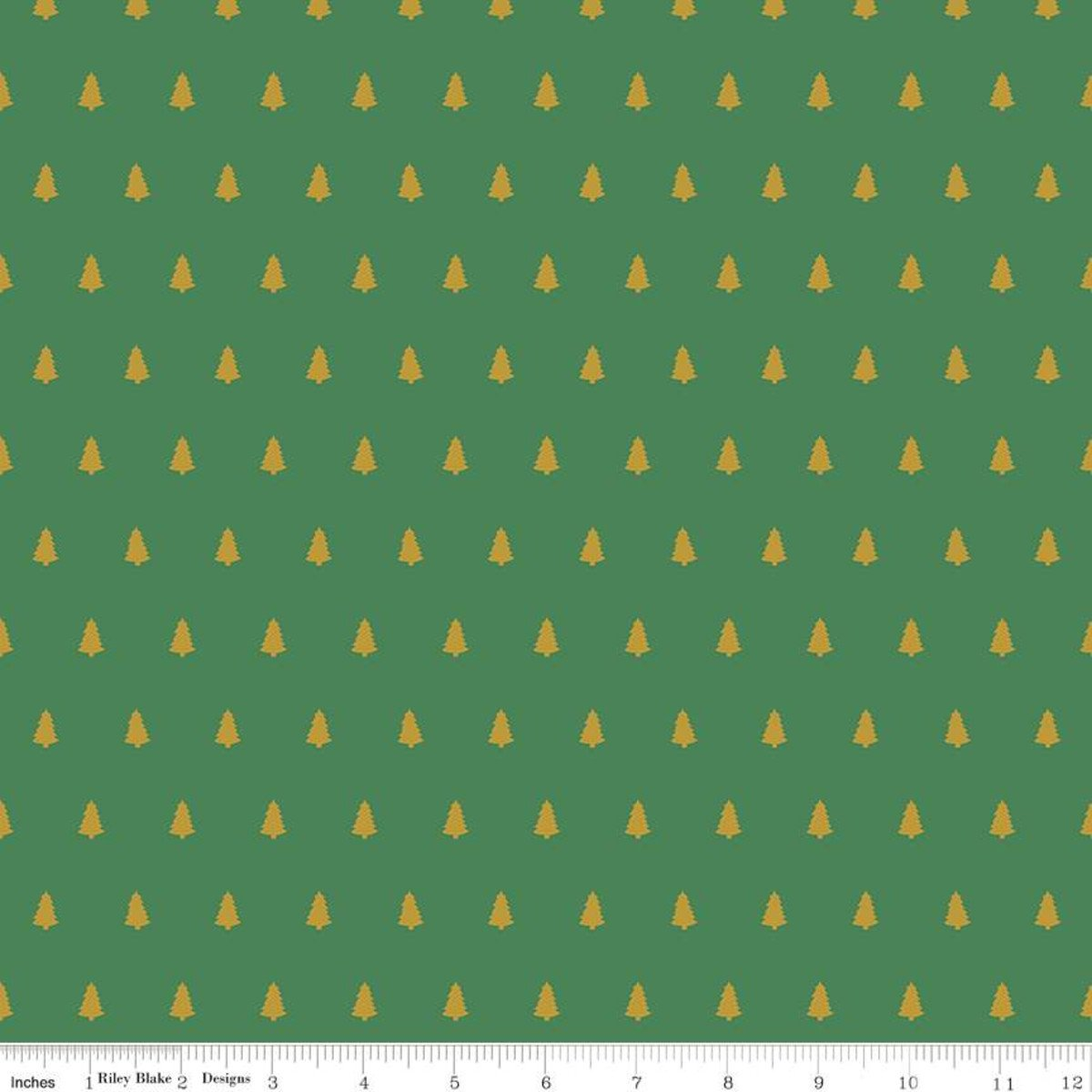 Santa Claus Lane Trees Green Fabric by Riley Blake