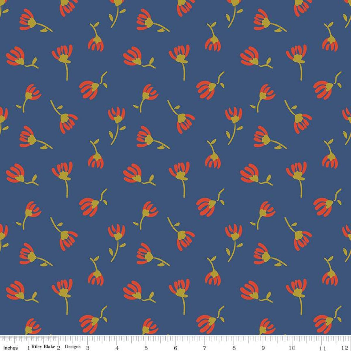 Sweet Honey Kisses Cosmos Navy Sparkle Fabric by Riley Blake