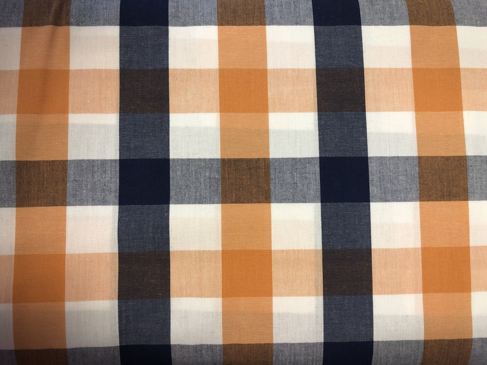 Orange Navy and White Tri-Check Fabric by Fabric Finders