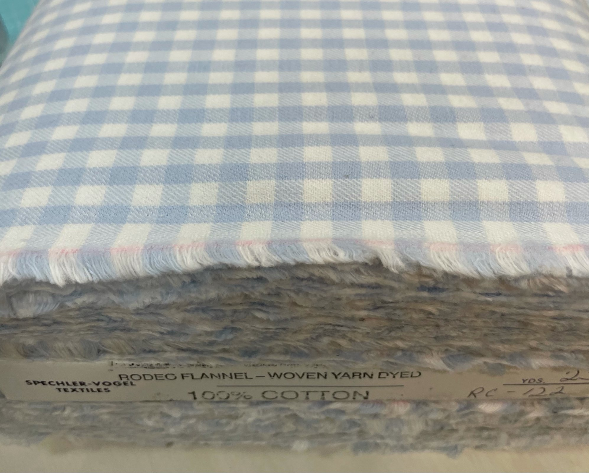 Light Blue and White Gingham Flannel Fabric by Spechler Vogel 1/4 Check