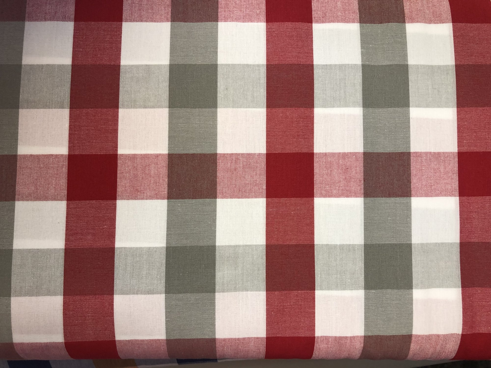 Red, Grey and White Tri-Check Fabric by Fabric Finders
