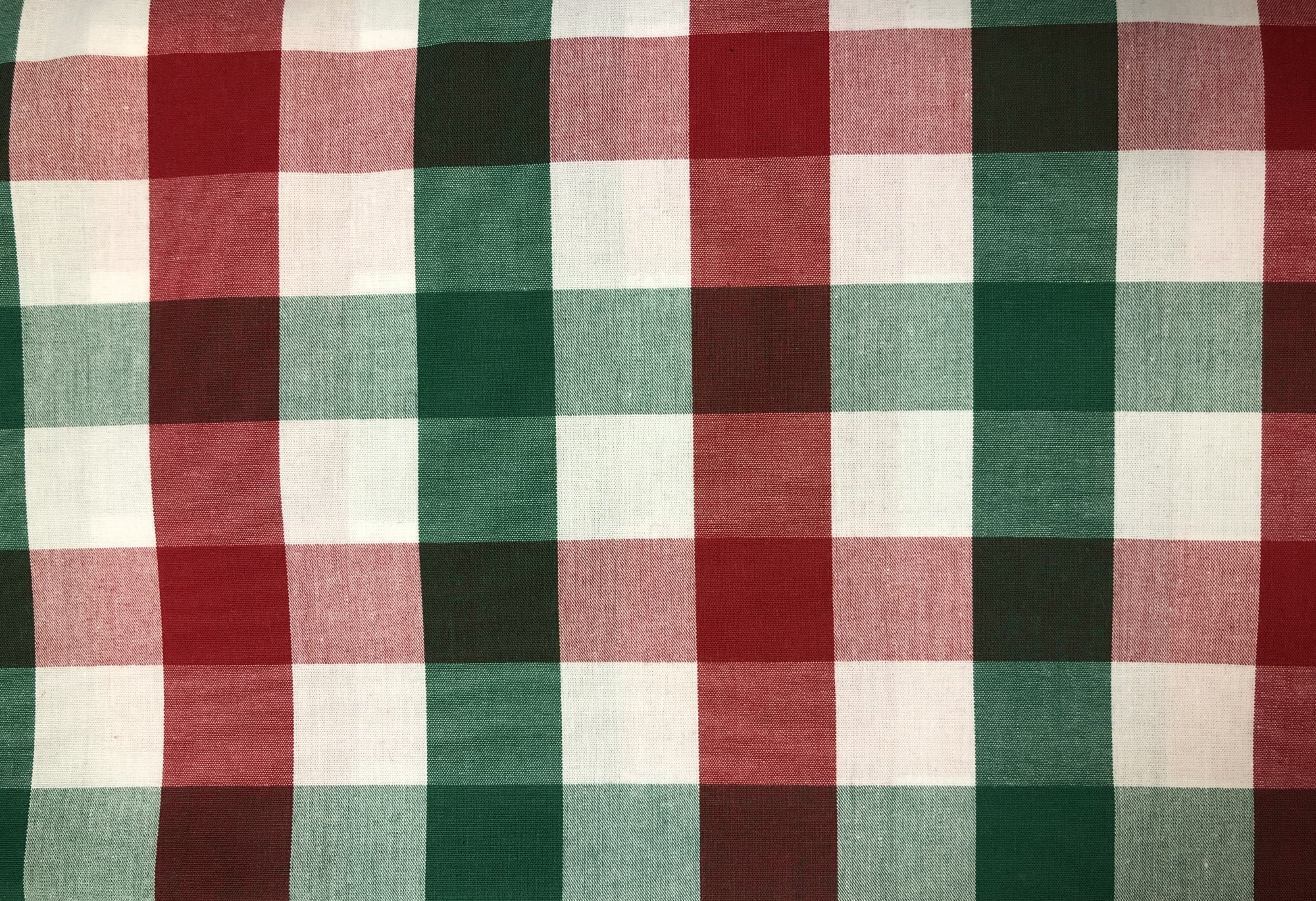 Red, Green and White Tri-Check Fabric by Fabric Finders