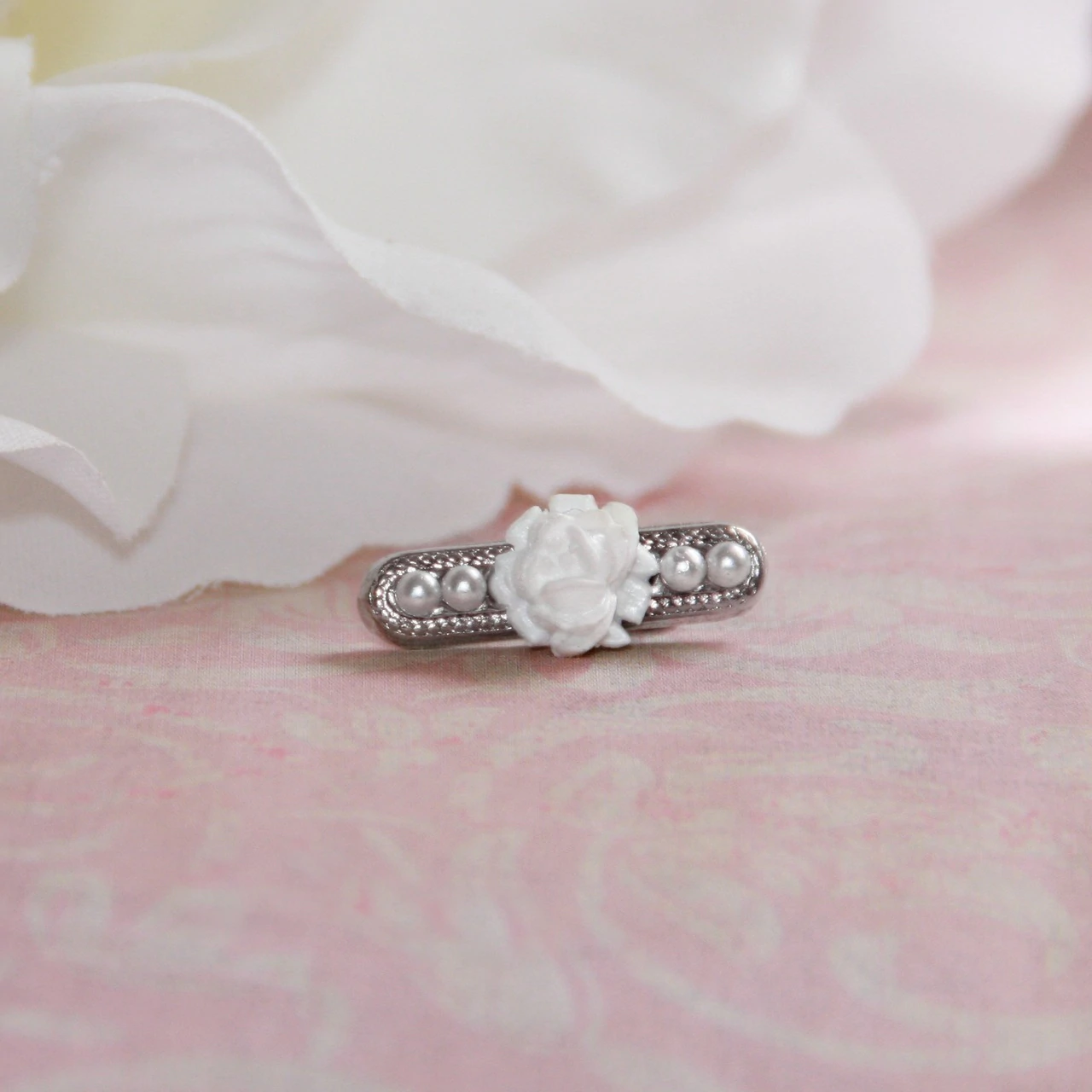 Seed Pearl Baby Beauty Pin with White Rose
