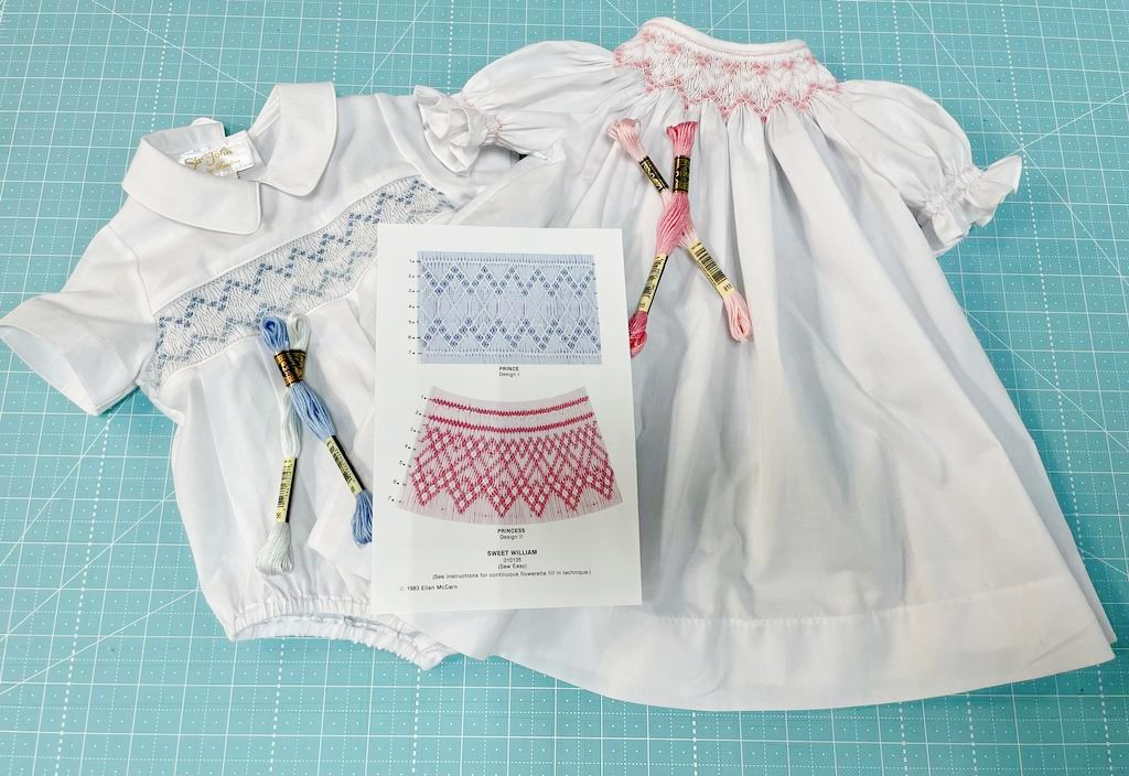 Smocking Kit: Girl Daygown White + Smocking Plate + DMC
