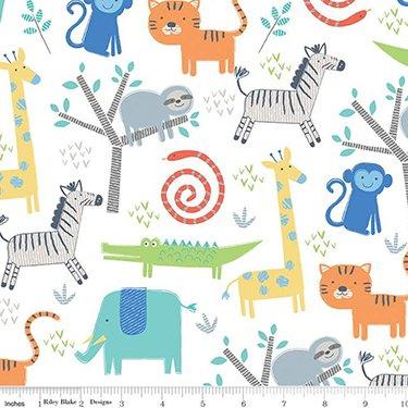 Designer Flannel Jungle Animals White Fabric