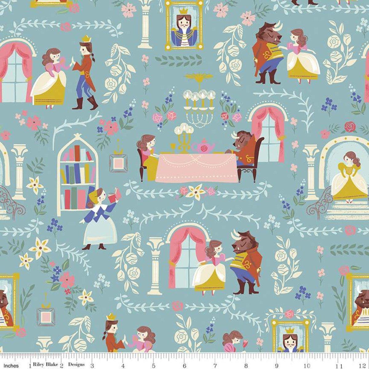 Beauty & the Beast Main Blue Fabric by Riley Blake