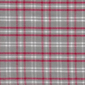 Gray, Red, and White Plaid Fabric by Fabric Finders