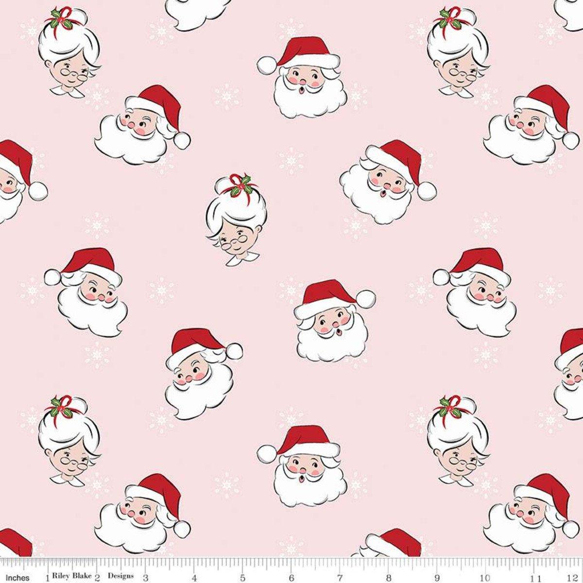 Santa Claus Lane Main Pink Fabric by Riley Blake