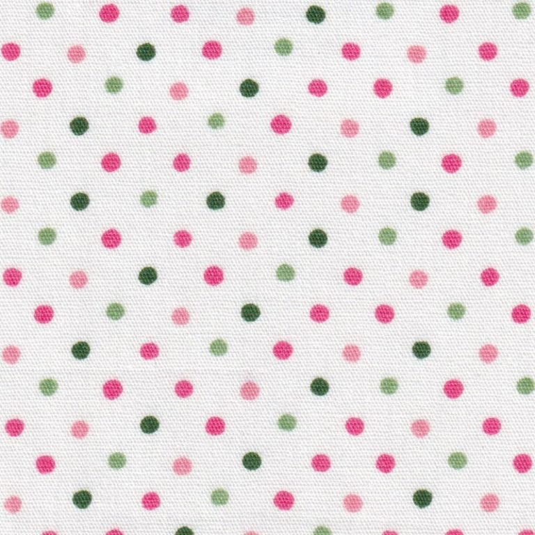 Pink and Green Polka Dot Fabric by Fabric Finders