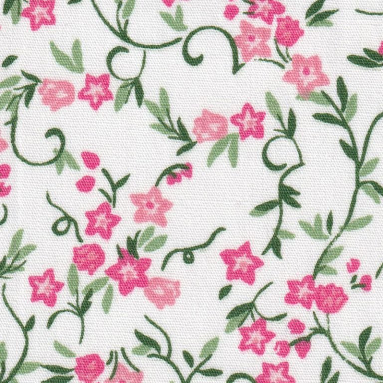 Pink and Green Floral Fabric by Fabric Finders