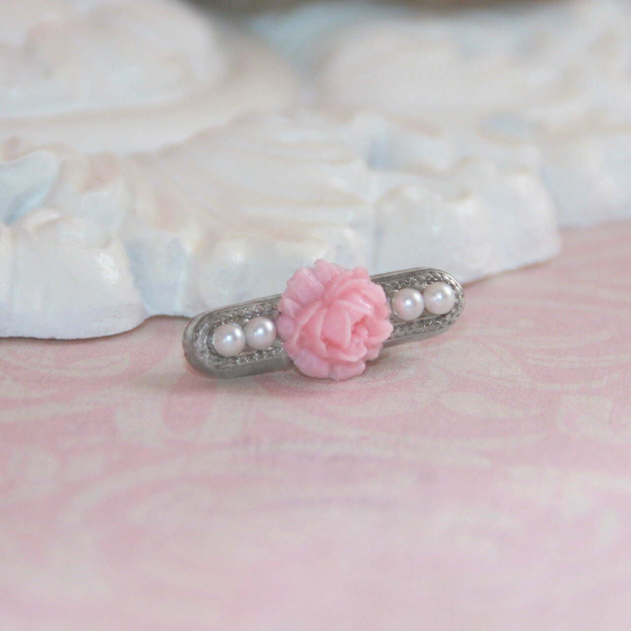 Seed Pearl Baby Beauty Pin with Pink Rose