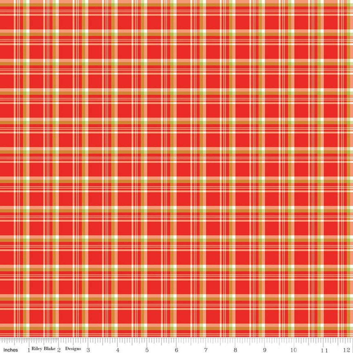 Merry Little Christmas Plaid Fabric Red by Riley Blake