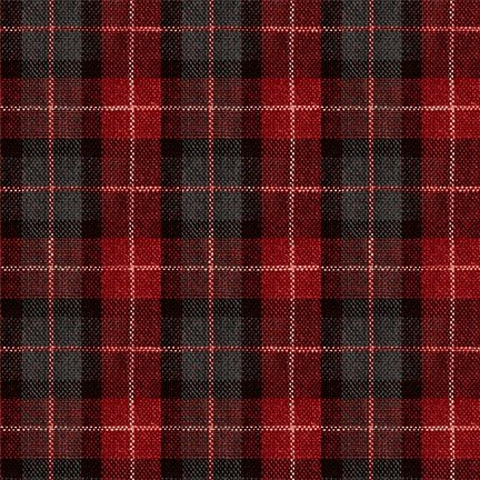 Red Lumber Checks Fabric by Michael Miller
