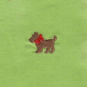 Scottie Dog on Lime Embroidered Corduroy