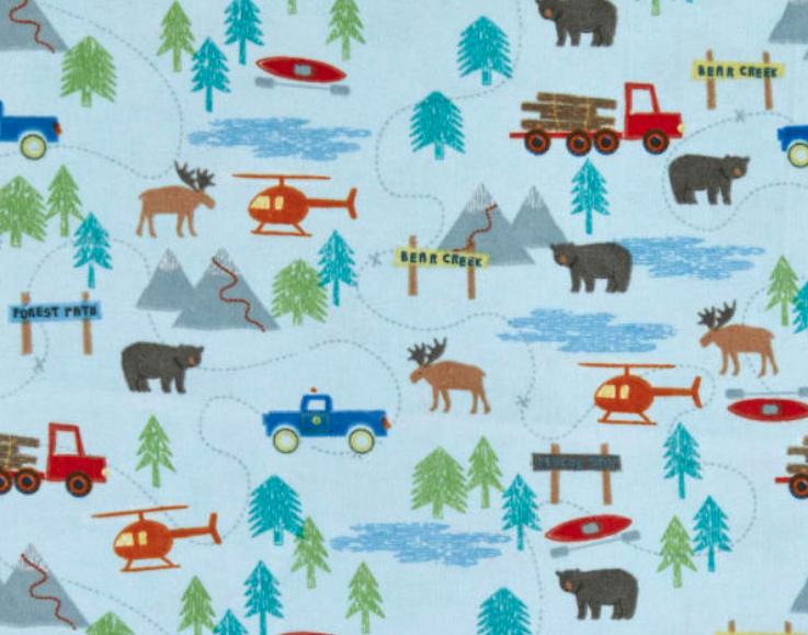 Forrest Scene Blue Flannel Fabric by Riley Blake