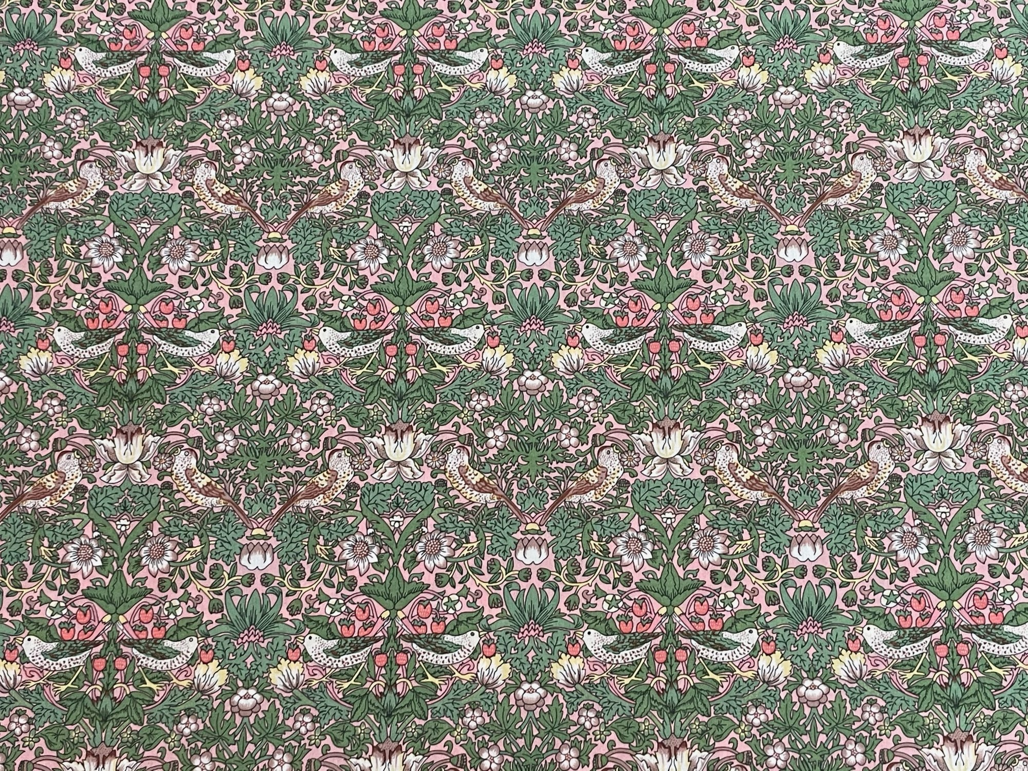 Strawberry Thief B Pink and Green Organic Liberty of London Tana Lawn Fabric