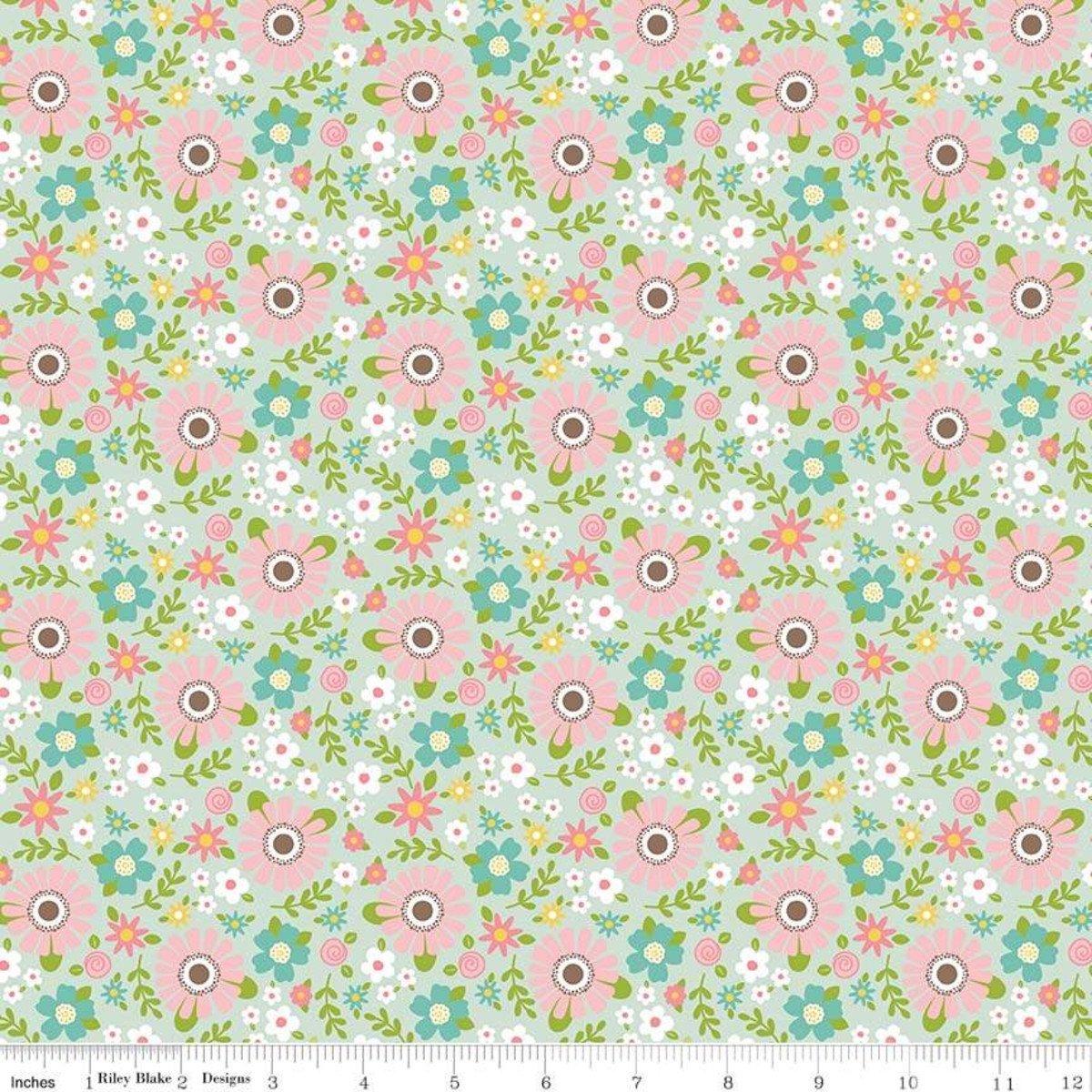 Sweet Baby Girl Garden Mint Fabric by Riley Blake