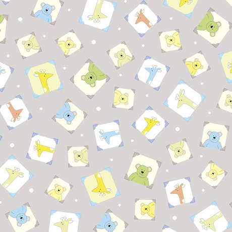 Lil'Sweeties Freamed Animal Toss in Baby Blue Fabric