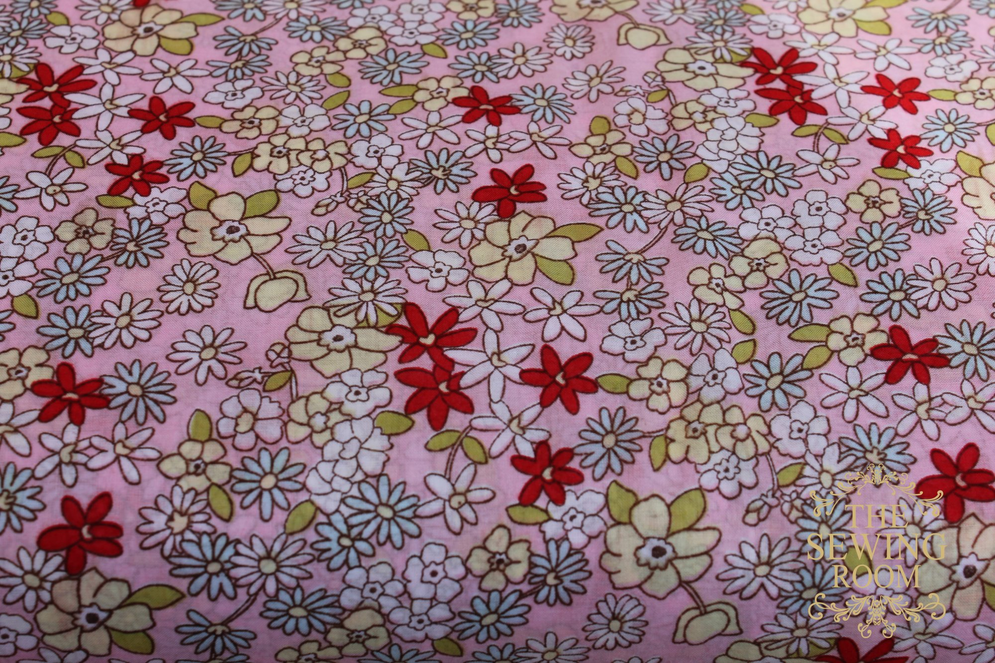 Tiffany Lawn Pink Yellow Lime and Aqua Floral Fabric by Spechler-Vogel Textiles