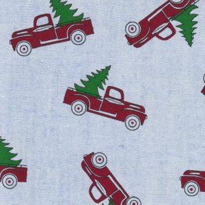 Red Truck on Blue Chambray Fabric