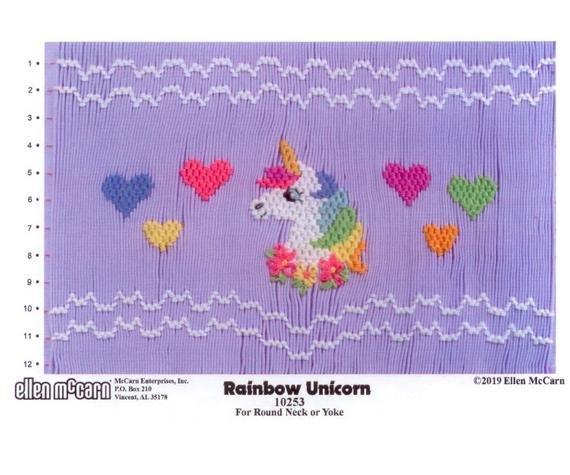 Rainbow Unicorn Smocking Plate by Ellen McCarn
