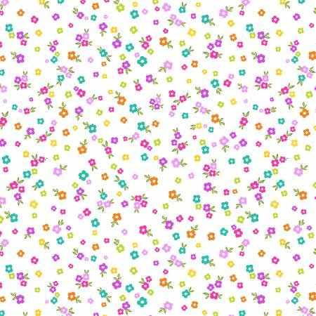 White Ditzy Blooms Fabric
