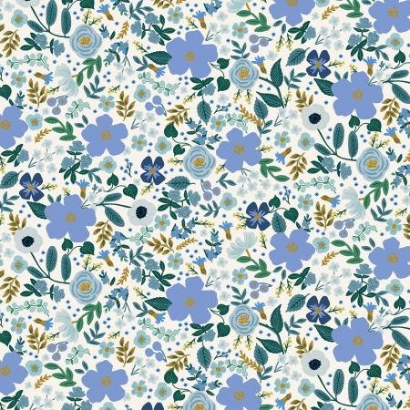 Garden Party - Wild Rose - Blue Metallic Fabric by Cotton + Steel