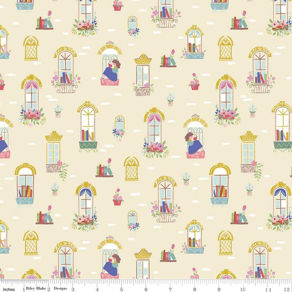 Beauty & the Beast Windows Cream Fabric by Riley Blake