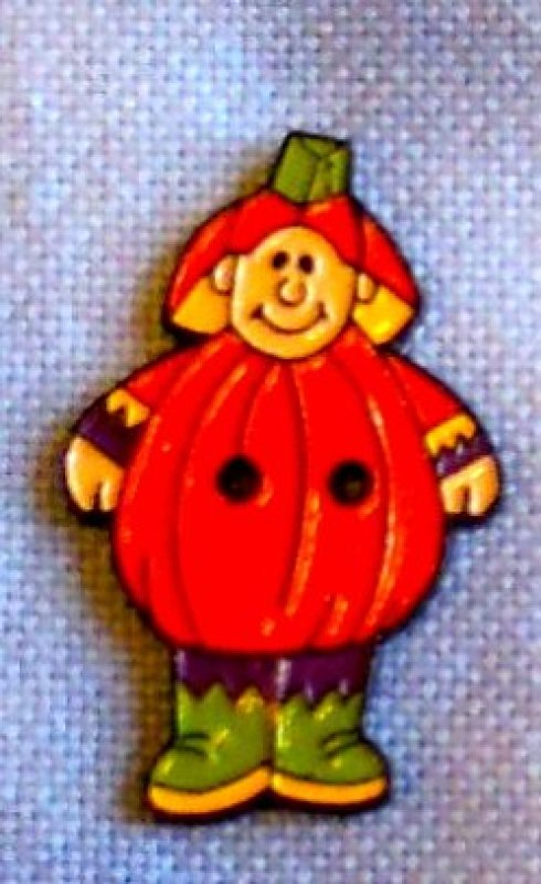 Pumpkin Child Button- Metal