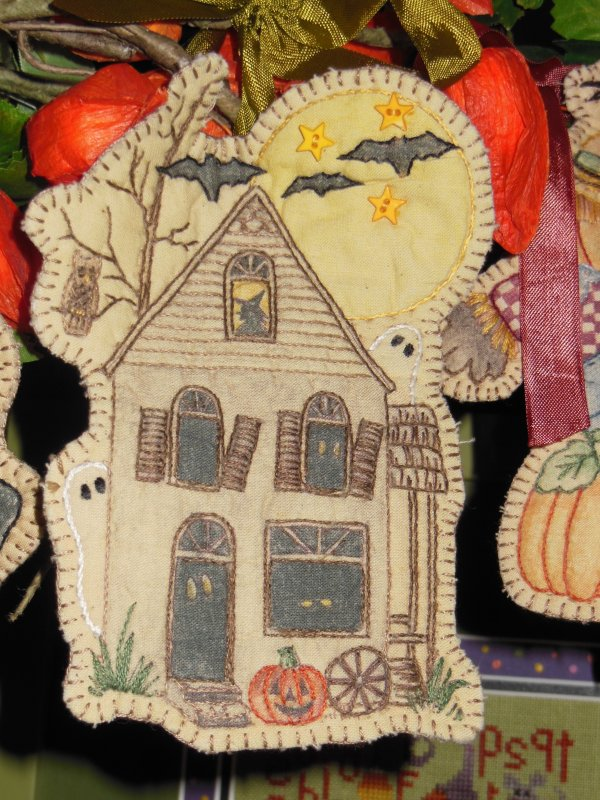 Haunted House Embroidery Ornament