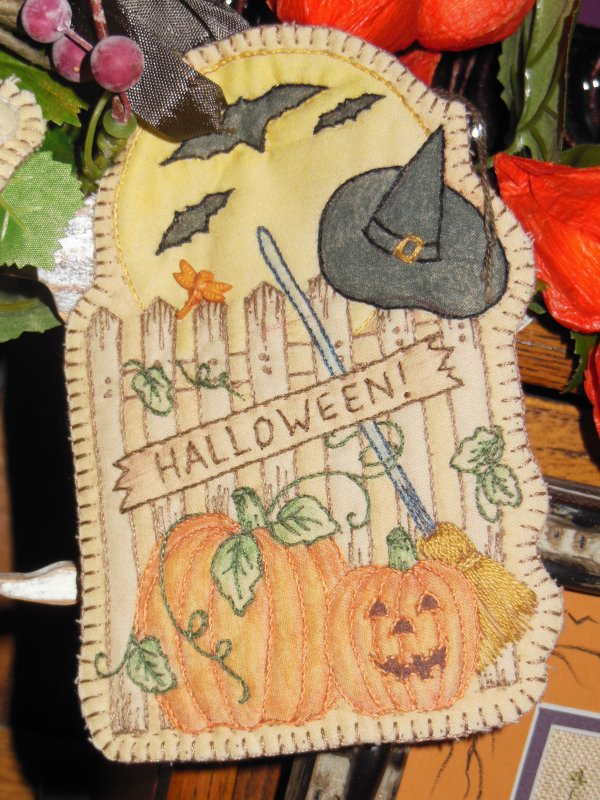 Pumpkin and Fence Embroidery Ornament