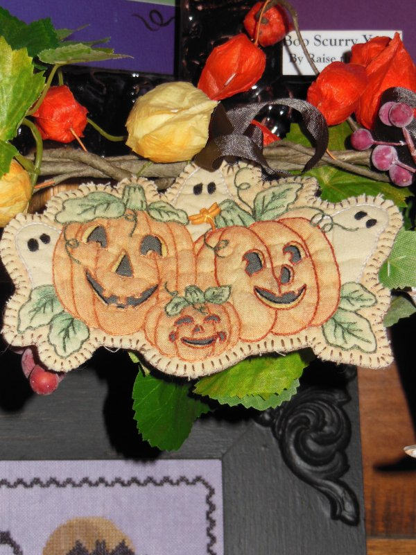 Three Pumpkins Embroidery Ornament