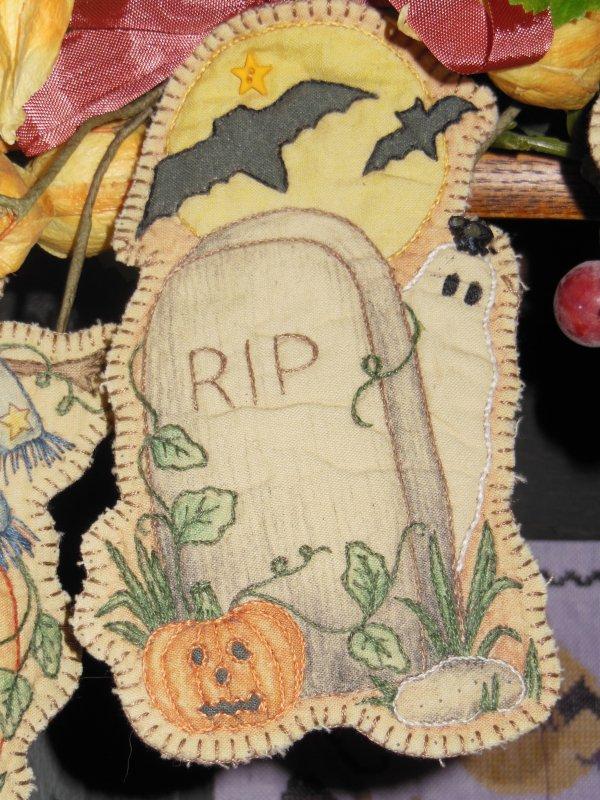 Gravestone Embroidery Ornament