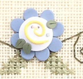 Blue Flower Button