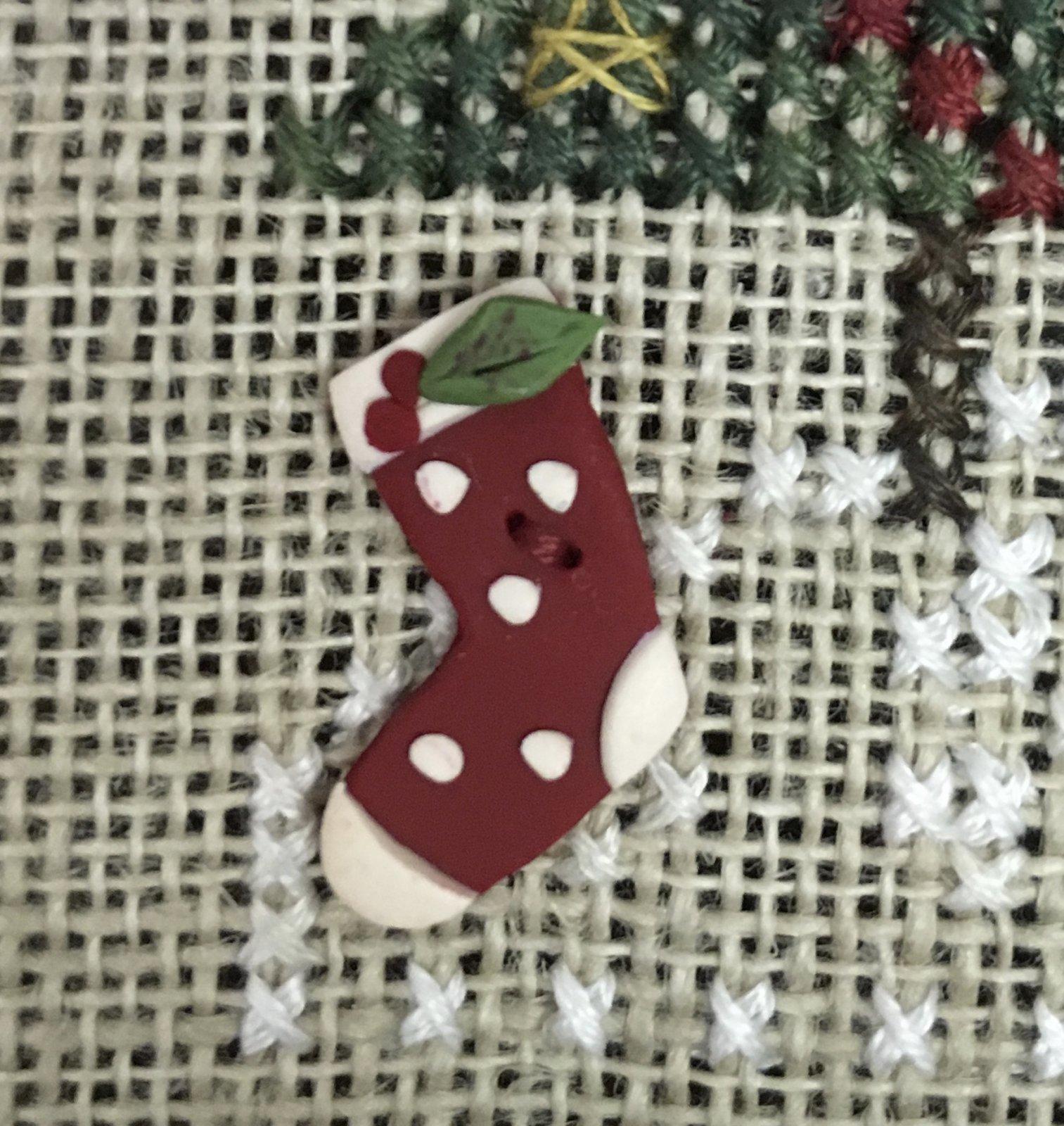 Polka Dot  Stocking Button