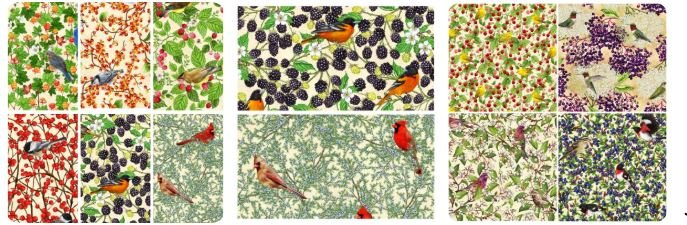 Birds and Berries Fat Quarters 10 pieces