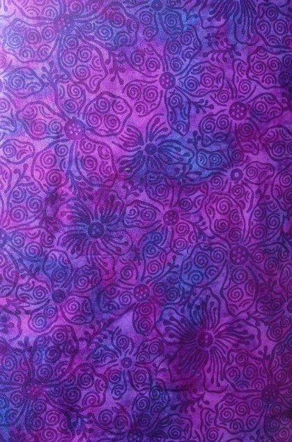 Island Batik, purple tending to violet background with darker purple floral design