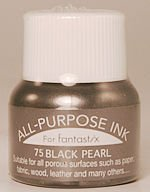 All Purpose Ink 1/2 oz bottle Tsukineko Metallic Black Pearl # 75