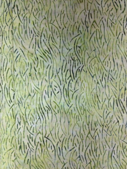 Island Batik, light multicolor background with medium blue design of curved lines