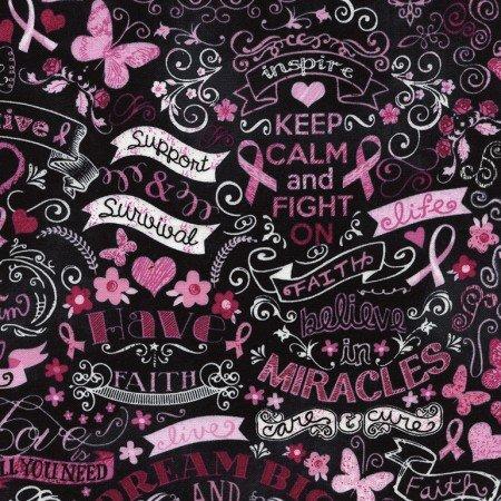 Timeless Treasures Pink Ribbon Chalkboard C3999