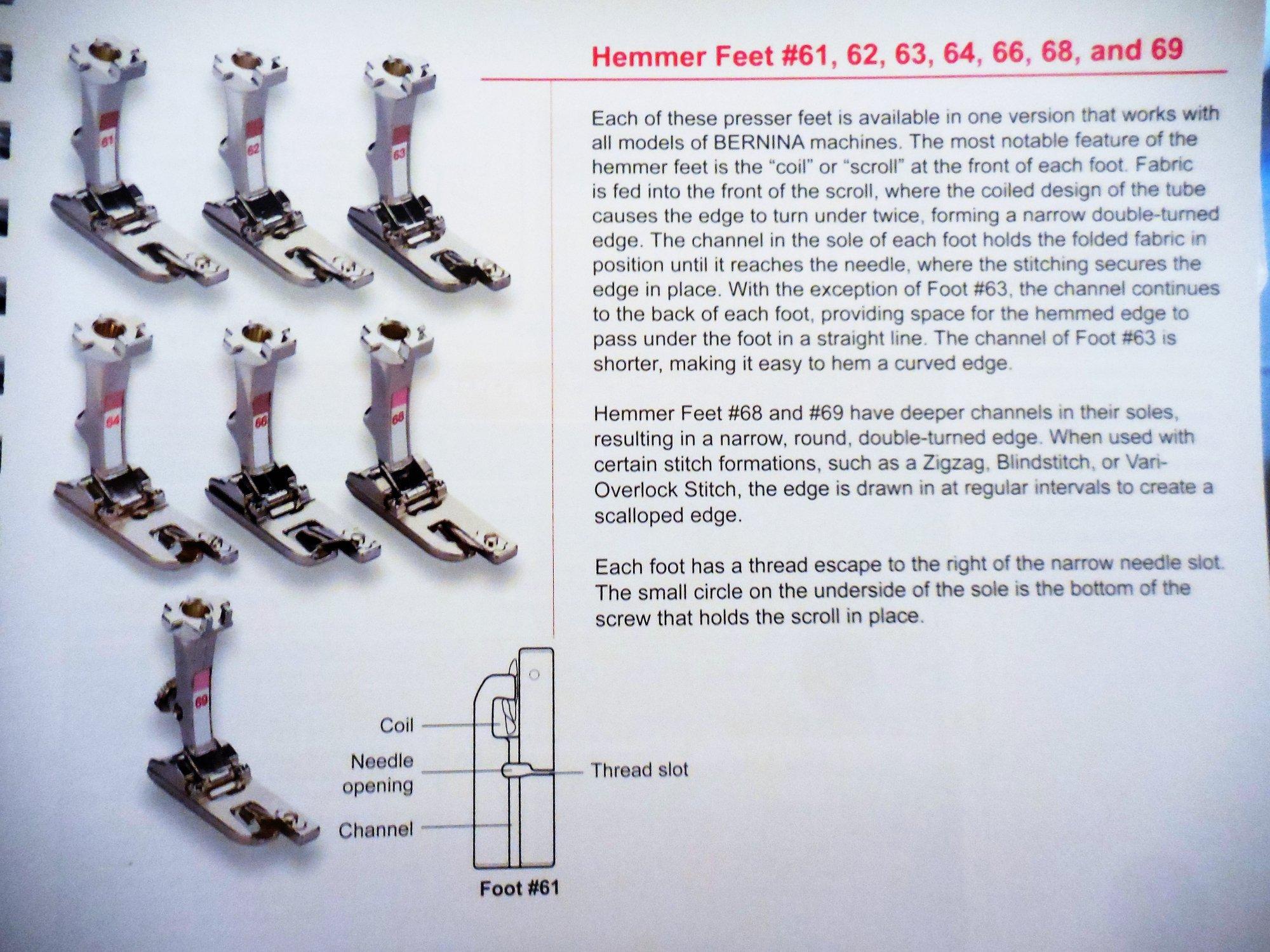 Foot #61, #63, #68, #70 Hemmer Foot